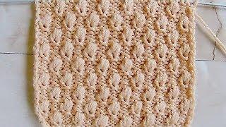 Рельефный узор с шишечками Вязание спицами Видеоурок 234