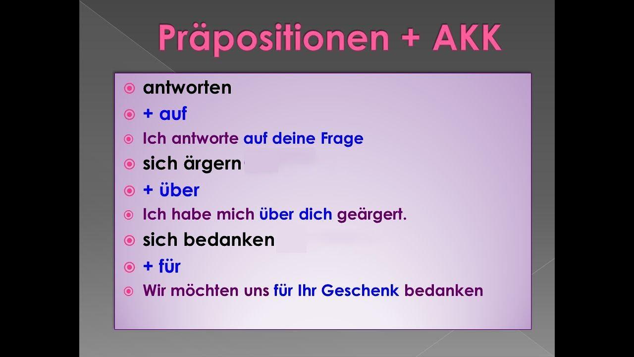 learn german verben mit pr positionen youtube. Black Bedroom Furniture Sets. Home Design Ideas