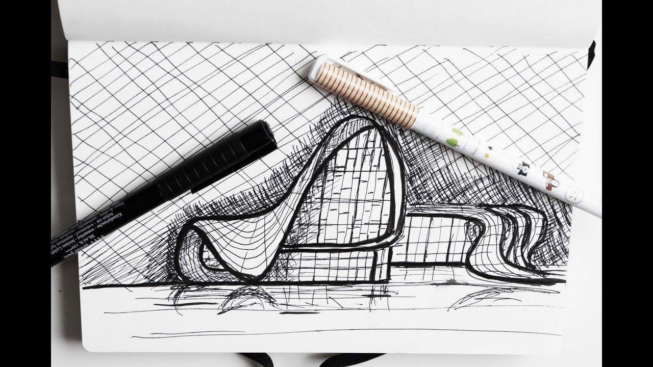 Drawing Heydar Aliyev Center By Zaha Hadid Fast Messy Sketch Youtube