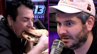 Papa John Blows Ethan's Mind With His Pizza Eating Skills