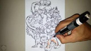 Legendary Forces of Nature Pokemon - Speed Drawing | Labyrinth Draw