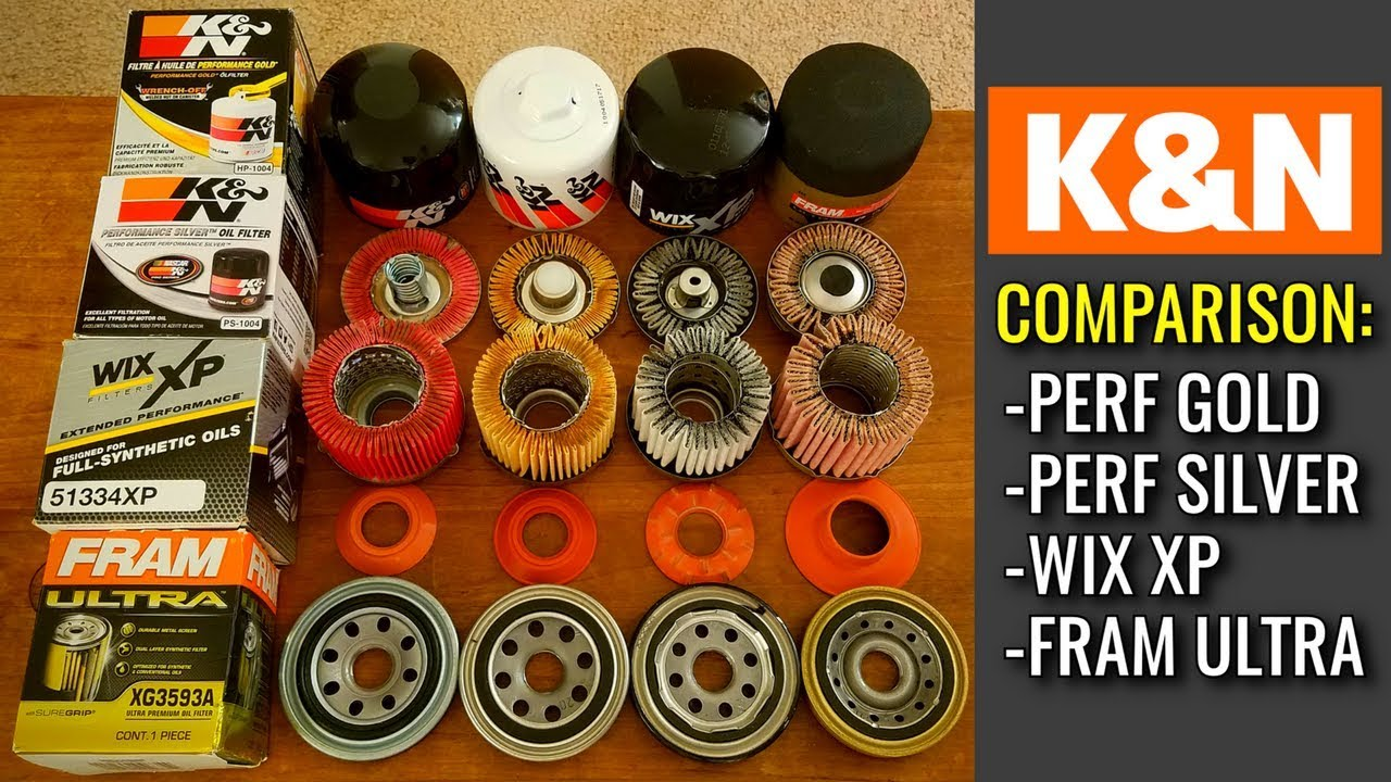 hight resolution of k n oil filters cut open performance gold vs performance silver vs wix vs fram