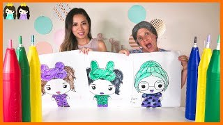 GIANT 3 Marker Challenge! Coloring for Kids with Greedy Granny