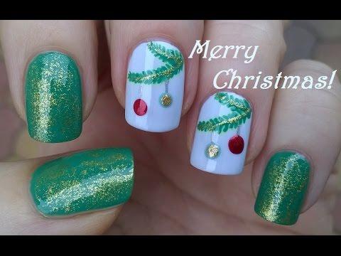Christmas Nails Tutorial Diy Holiday Nail Art In Green Gold