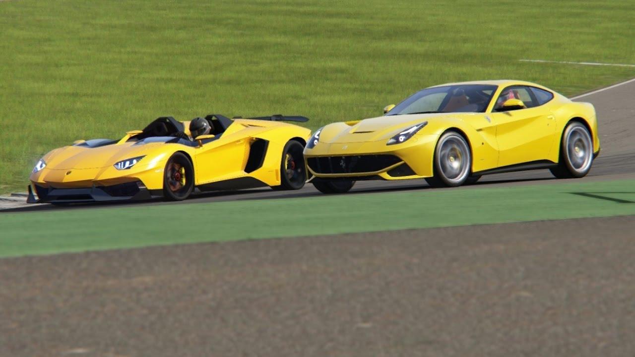 Battle Lamborghini Aventador J vs Ferrari F12 Berlinetta Racing at