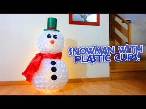 snowman with plastic cups christmas crafts