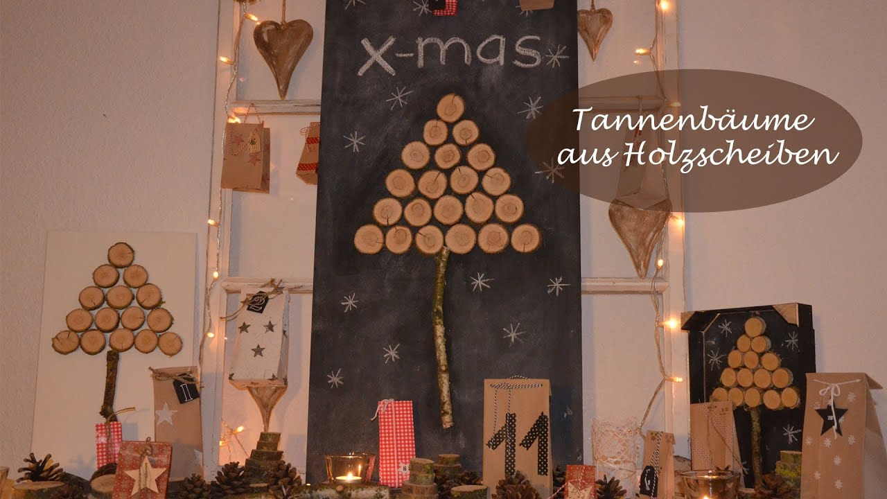 diy weihnachtsdeko selber machen tannenb ume aus holzscheiben i winterdeko i how to youtube. Black Bedroom Furniture Sets. Home Design Ideas