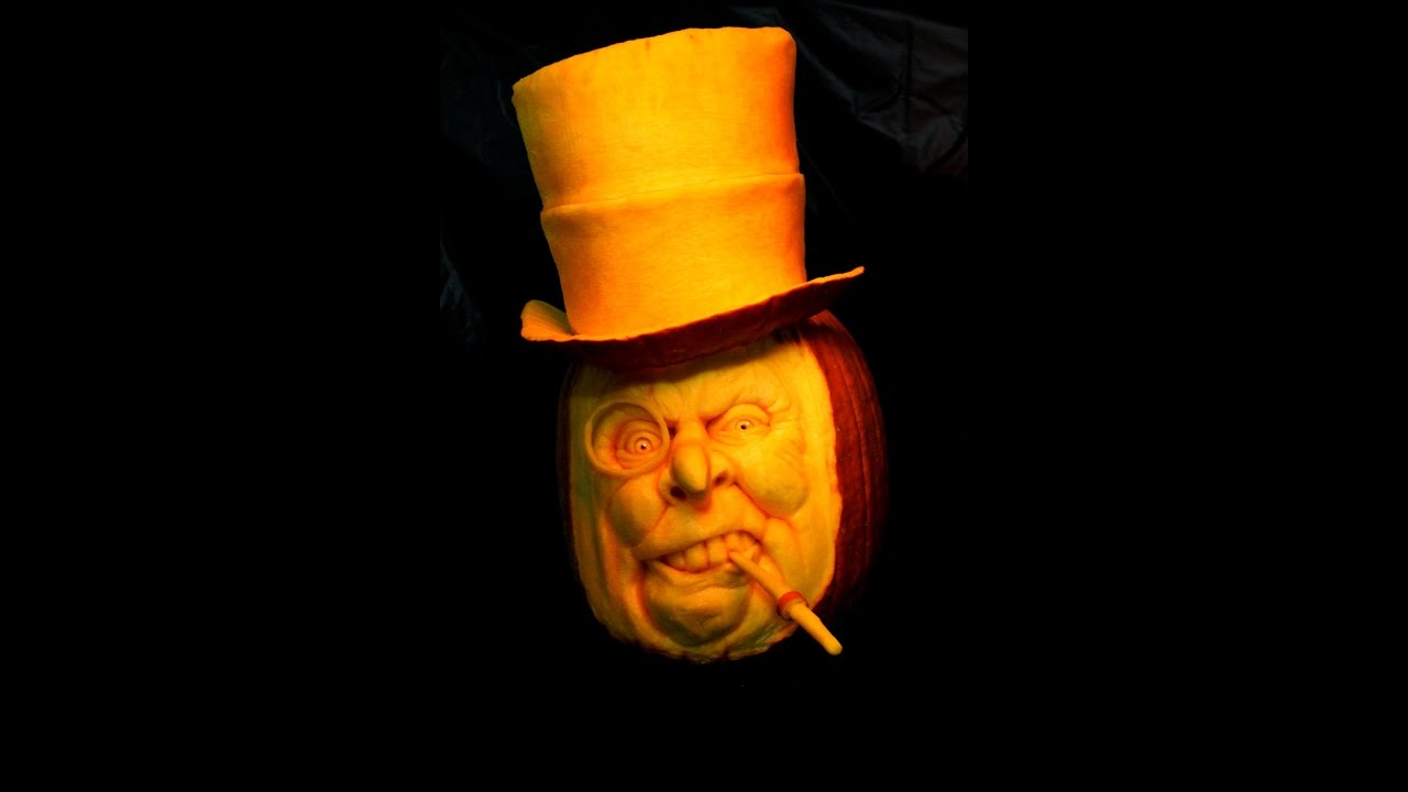 wow! you need to see this 3d pumpkin carving!!! oswald cobblepot