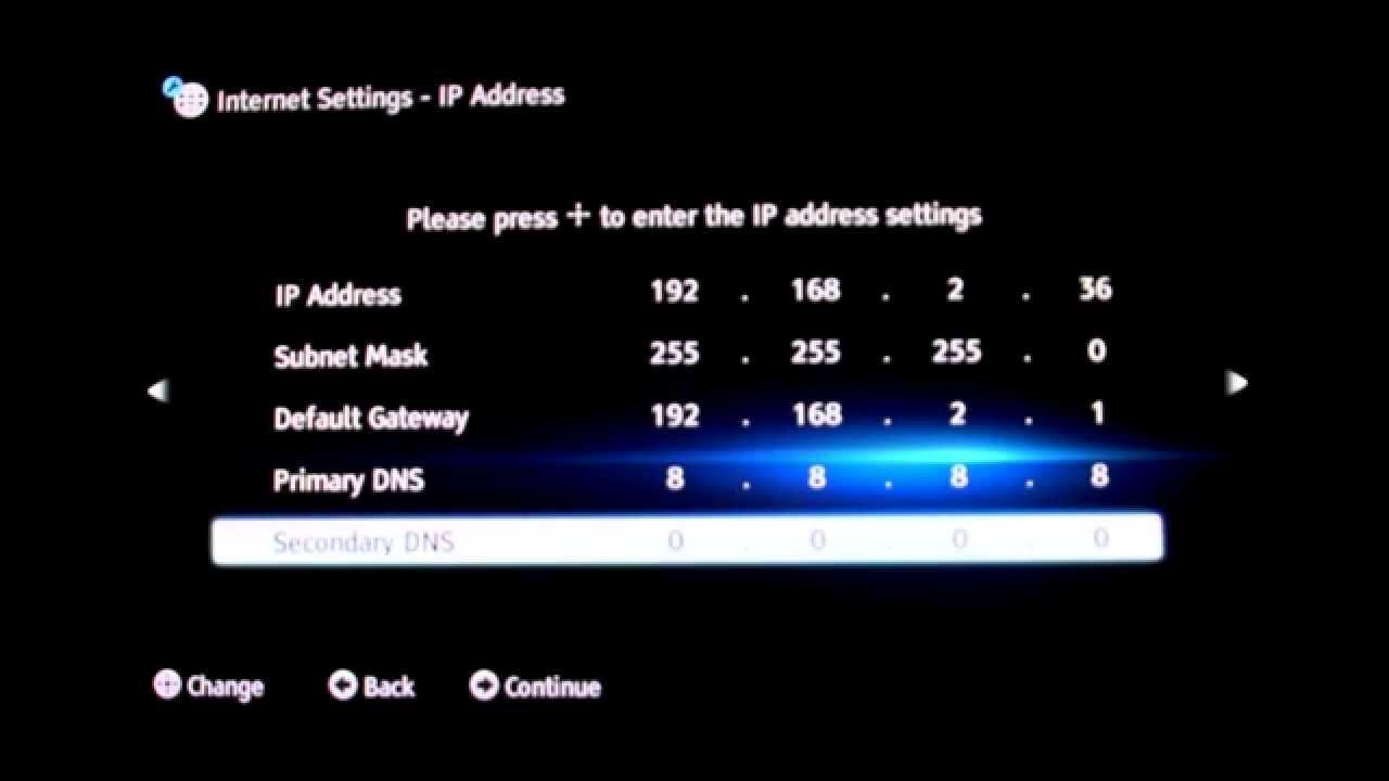 Sony Bluray 2012 model manual IP/DNS set up