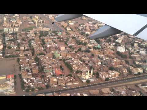 Lufthansa A340 landing in Khartoum, Sudan - 2012