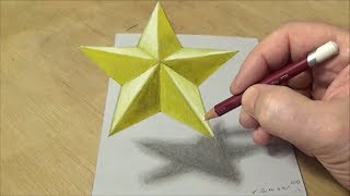 How to Draw 3D Star - Drawing 3D Floating Star - VamosART