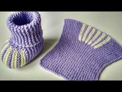 Пинетки спицами. Простые детские носочки спицами для новорожденных