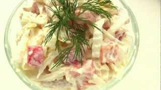 Салат с пекинской капустой и кальмарами-vikka.com.ua