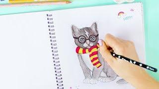 How to draw a Cat || Katze im Harry Potter Style malen | TOPModel Kitty Malbuch | Foxy Draws