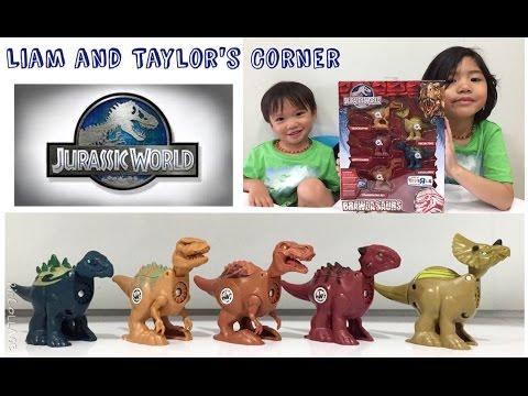JURASSIC WORLD Brawlasaurs   TREX RAPTOR TRICERATOPS STEGOSAURUS    Toy Unboxing   LTC