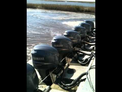 8 new Yamaha 250s' on 100 ft aluminum flat work barge. PART 2