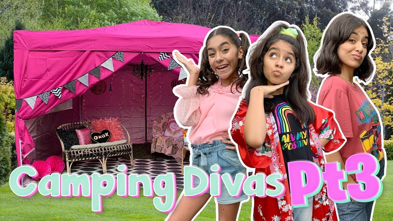 Camping Divas Part 3 - *SCARY* Backyard Glamping Vlog : #campyoutube #withme   GEM Sisters