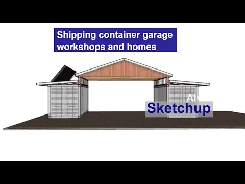 Shipping container garage workshops and homes  – Garage made from two 20' shipping containers