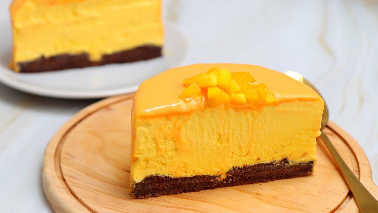 Mango mousse cake recipe [no oven, no eggs, no gelatin ]