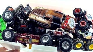Box of Monster Truck Toys - Collection Hot Wheels Monster Jam Trucks - Zombie Captain America