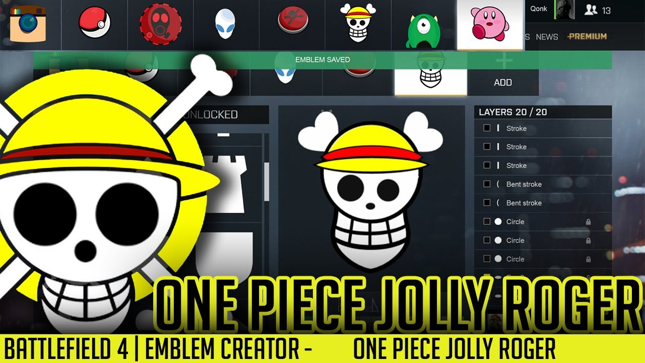 Battlefield Emblems Creator One Piece Jolly Roger