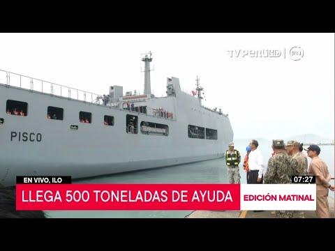 Presidente Martín Vizcarra supervisa desembarque de buque que transporta ayuda humanitaria