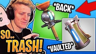 Tfue Reacts to *VAULTED* Grenades & *UNVAULTED* Clingers! - Fortnite Best and Funny Moments