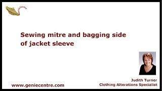 Sewing mitre and bagging side on jacket sleeve