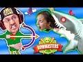 MOMMY, CAN I SHOOT A SHARK PWEEEZ?! 🌊 BOWMASTERS Game w/ BAD BABY FGTEEV Duddy Chunky Boy (Skit)