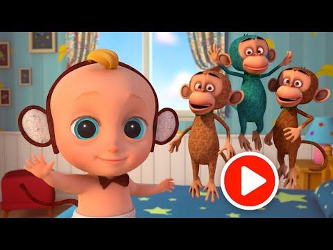 Пять обезьянок -  развивающий мультфильм и песенка про счёт для малышей