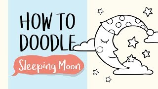 How to Draw a Cute Sleeping Moon (Easy Step by Step Drawing and Coloring Tutorials)