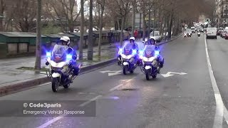 Police Motorcycles Responding Lights and Sirens to Emergencies in Paris