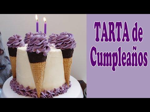 Tarta de cumplea os con decoraci n original pastel muy for Como decorar una torta facil y rapido