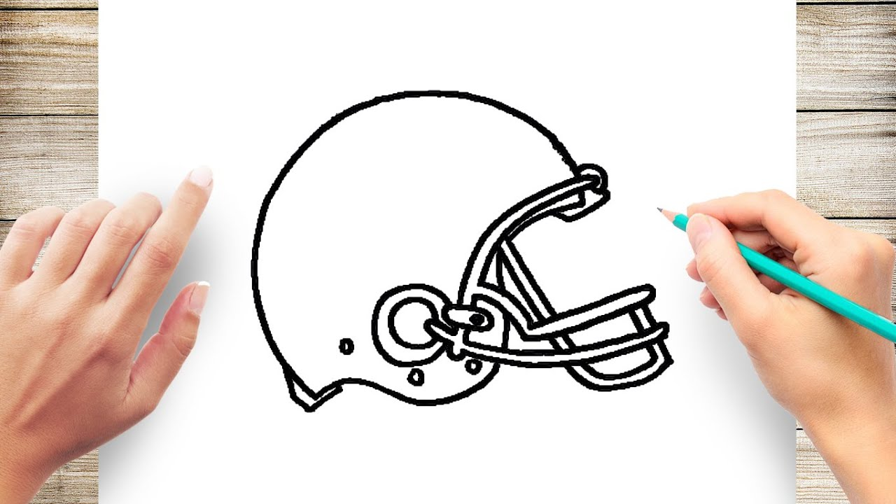 How To Draw Football Helmet Step By Step For Kids Youtube