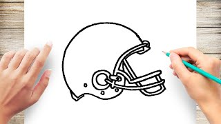 How to Draw Football Helmet Step by Step for Kids