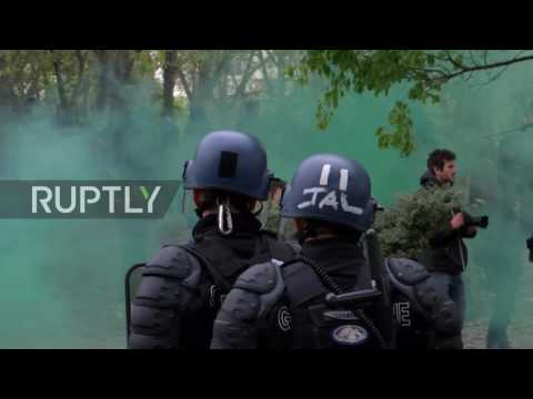 France: Police tear gas anti-Le Pen protesters during campaign rally in Paris