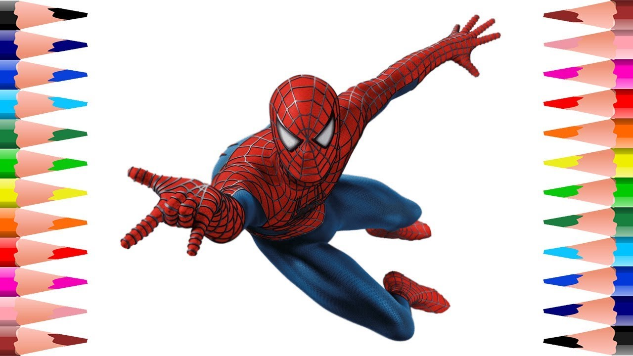 How to paint Spiderman Coloring Pages for Kids - Coloring Spiderman ...
