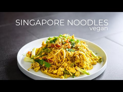 VEGAN SINGAPORE STYLE NOODLES RECIPE | EASY CANTONESE CURRY RICE NOODLES