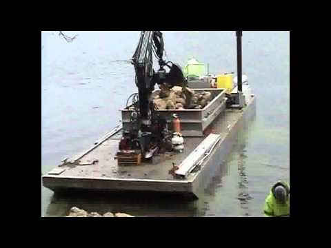 KANN Work Barge Series, Aluminum Crane Barge - Rip Rap.wmv