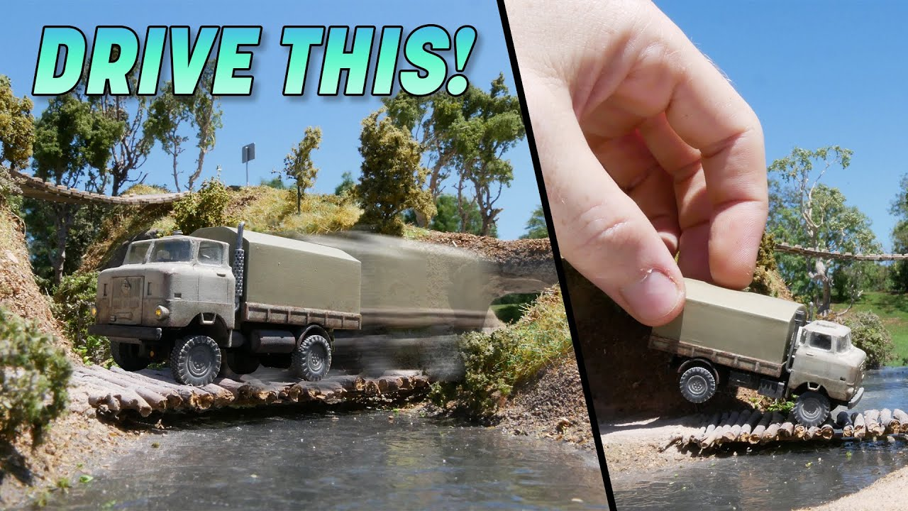 Build an EXTREMELY tiny RC Truck & Obstacle Course - *You Can Drive On!*
