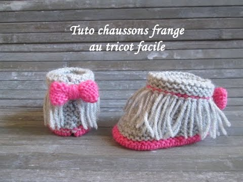 TUTO CHAUSSON BEBE A FRANGES TRICOT FACILE Baby booties knitting BOTITAS BEBE DOS AGUJAS - YouTube