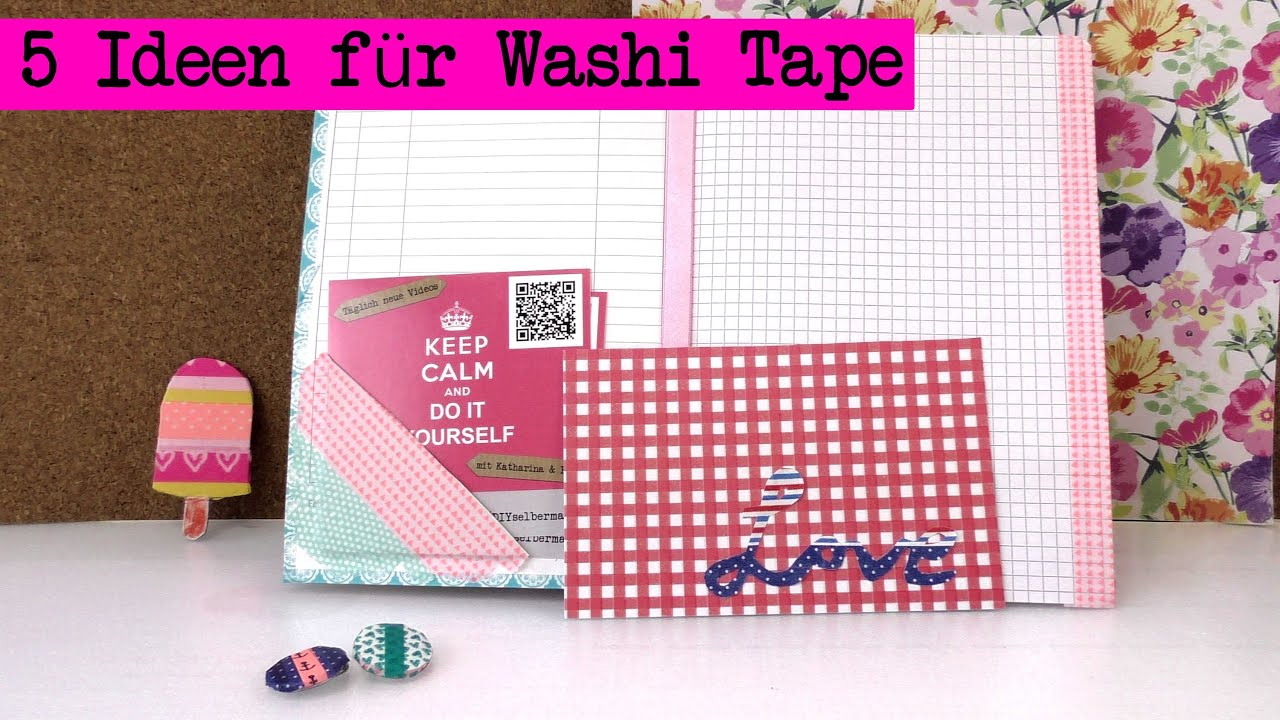 diy washi tape ideen kathis 5 neue ideen mit washi tape tutorials youtube. Black Bedroom Furniture Sets. Home Design Ideas
