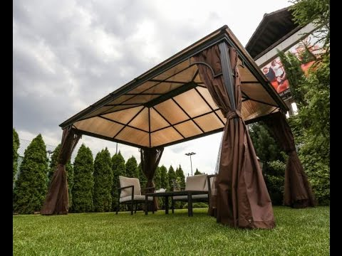 Metal Gazebo With Polycarbonate Roof Youtube