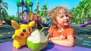 Milusik Lanusik playing on playground with Pikachu Toy