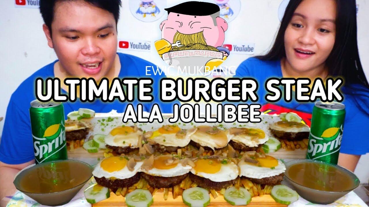 Ultimate Burger Steak Ala Jollibee Mukbang / Filipino Food Mukbang / Mukbang Philippines /Pinoy Food