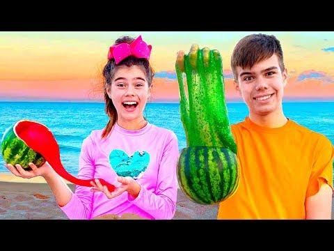 Настя и Артем - история для детей про слайм в песке
