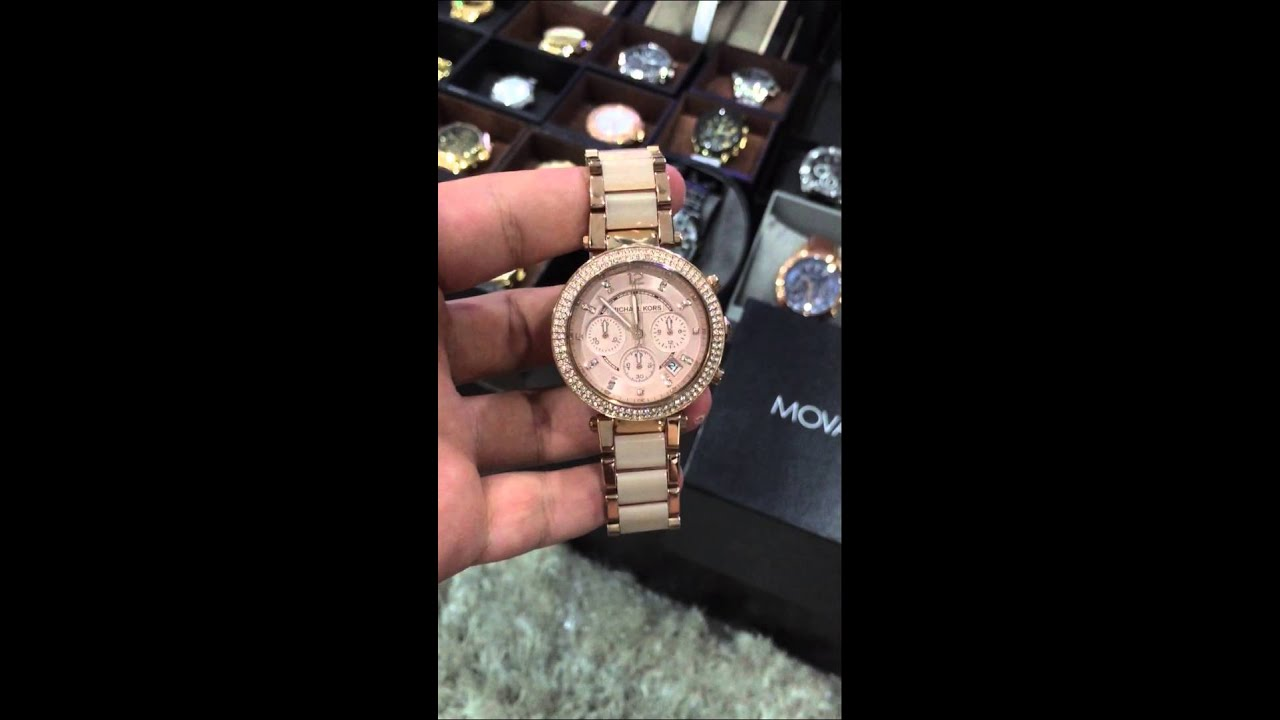 133ad1f8072d MICHAEL KORS Parker Blush Dial Rose Gold-tone and Blush Acetate Ladies Watch  MK5896