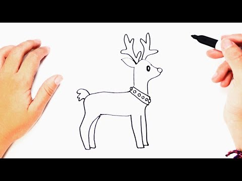 How to draw a Reindeer | Reindeer Easy Draw Tutorial