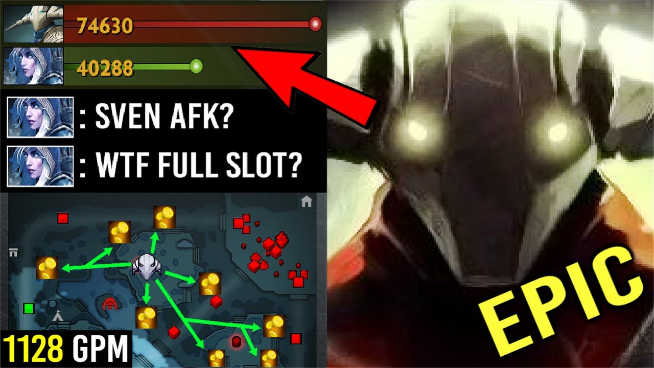 When Sven AFK Farm Jungle Then Become SUPERMAN! WTF How He Can Farm so Fast 1128 GPM New 7.27 Dota 2