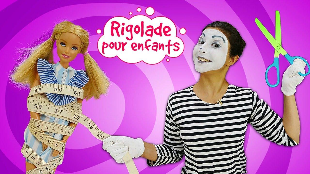 Le nouveau look pour Barbie. La mime - styliste. Vidéo drôle pour enfants.